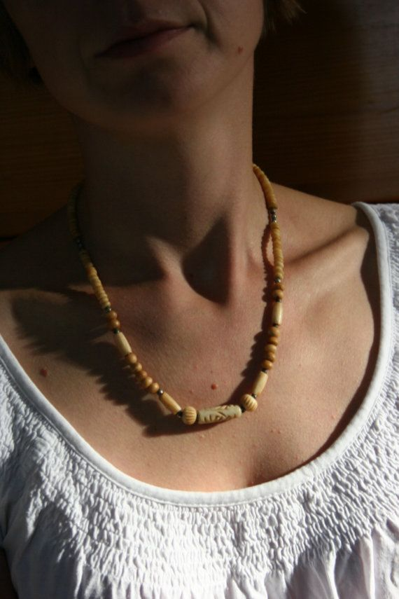 Vintage Bone necklace boho necklace ethnic bone by TaylorGirlsShop