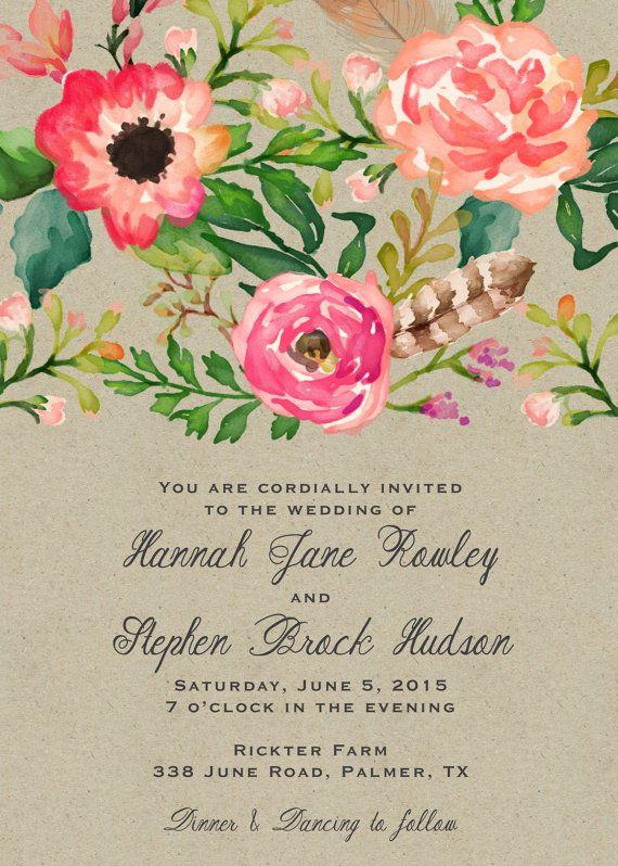 Conjunto invitación de boda Floral acuarela por papernpeonies