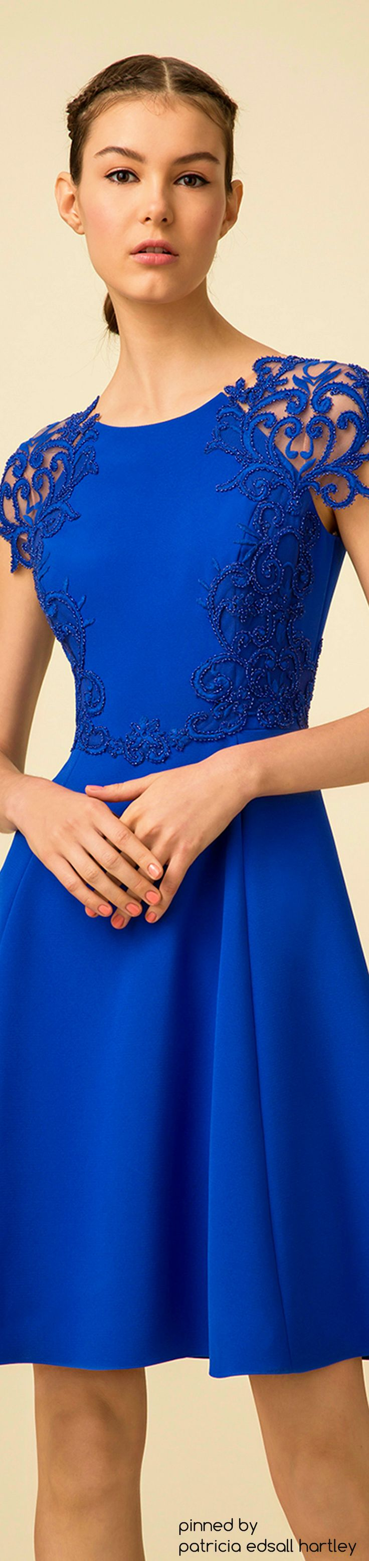 SPRING 2016 READY-TO-WEAR Marchesa Notte blue lace dress women fashion outfit clothing style apparel @roressclothes closet ideas