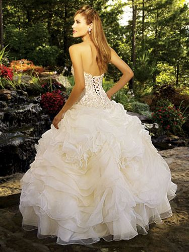 White Quinceanera Dresses - Tiered Rosette Skirt With Lace-Up Corset