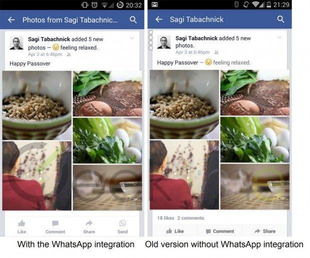 Facebook incorpora Whatsapp  inserendo un apposito tasto send per condividere i contenuti del social network tramite l'app di messaggistica istantanea. Ad annunciarlo è Geek Time: ad alcuni utenti nell'ultimo aggiornamento dell'app Android di Facebook accanto ai tradizionali tasti like/comment/share è apparso un tasto send con l'icona di Whatsapp.