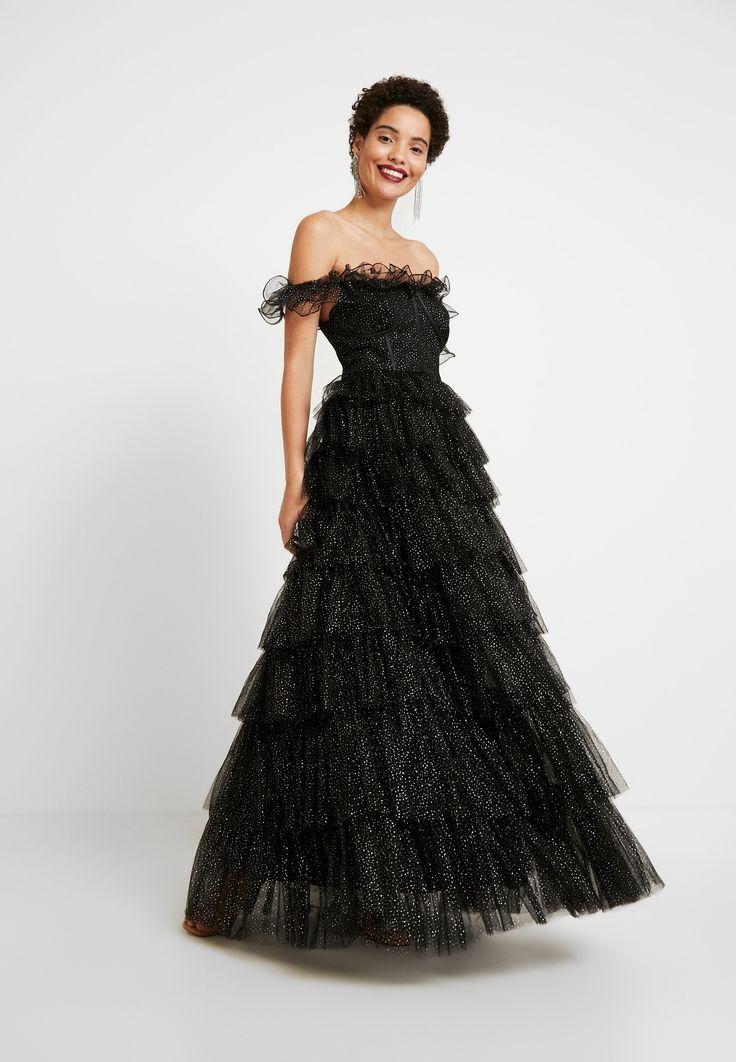 maya deluxe glitter bardot maxi dress with tiered
