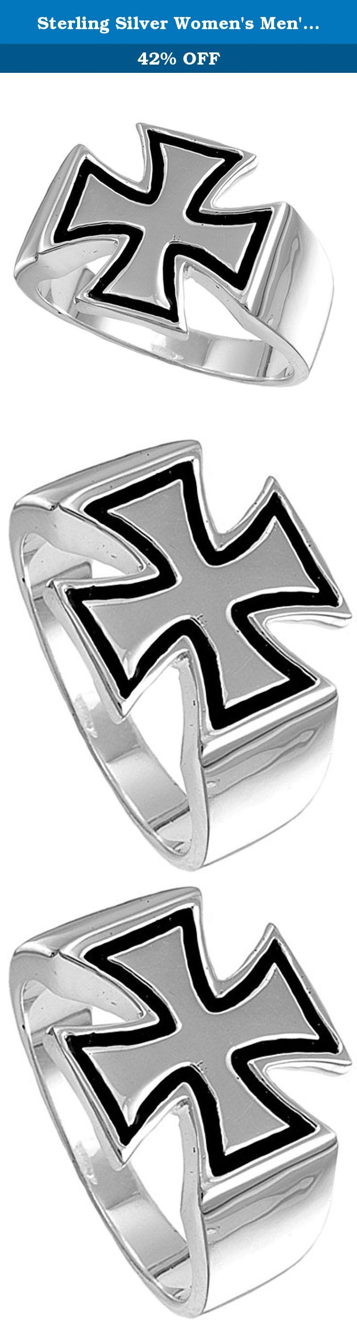 Sterling Silver Women's Men's Iron Cross Ring Unique 925 Band 15mm Size 6 (RNG13228-6). All our silver jewelry is crafted from .925 silver also commonly referred to as sterling silver. Sterling silver is the standard for beautiful high-quality silver jewelry and can not be replicated by lower priced silver plated jewelry. It is 92.5% pure silver, mixed with alloys to add strength and durability to stand the test of time. We promise superior service which includes fast shipping, great...