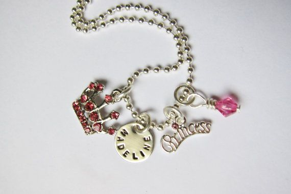 Personalized Cinderella pink princess girl's charm necklace for sweet little princesses from the belle bambine children's line. This silver and pink sparkling necklace will make any little princess smile!