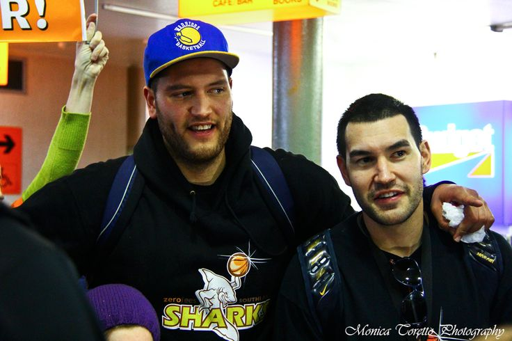Southland Sharks' captain James Paringatai and team mate Luke Martin at the Invercargill Airport on July 15, 2013. See our website for the story:  http://iluvinvers.co.nz/an-orange-landing-southland-sharks/