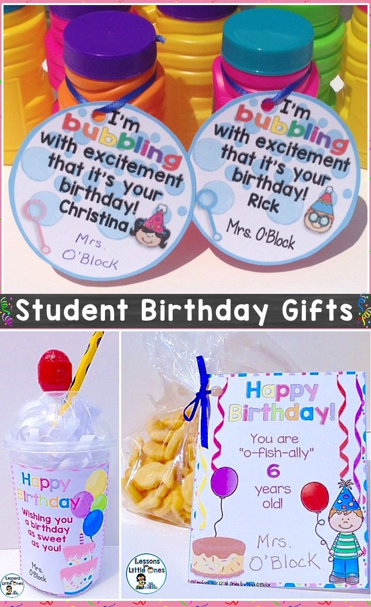Ideas for simple & inexpensive student birthday gifts that will make them feel extra special on their birthday. https://lessons4littleones.com/2016/08/23/student-birthday-gift-ideas-tags-certificates-brag-tags/