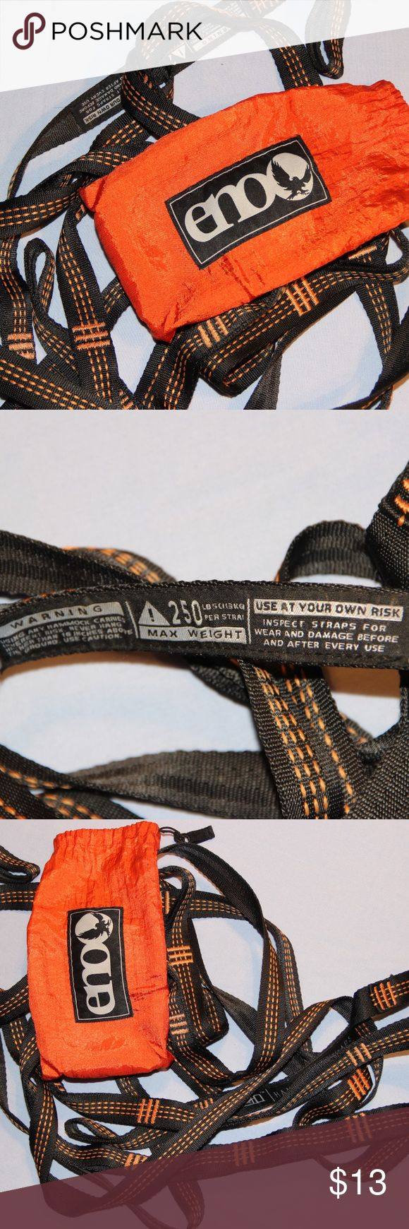 ENO Hammock Straps Eno Brand Hammock Straps, like new!!. Orange and black.  So adjustable you can set up almost anywhere!!! At the end of your day, pitching your gear should be as painless as taking off your shoes. The SlapStrap system by Eagles Nest works anywhere and straps to anything. Hanging your ENO hammock just got even easier. It took only minutes before, now in only a few seconds you can be hanging in the sun.  6 points on both straps, make a 25 ft suspension. ENO Accessories