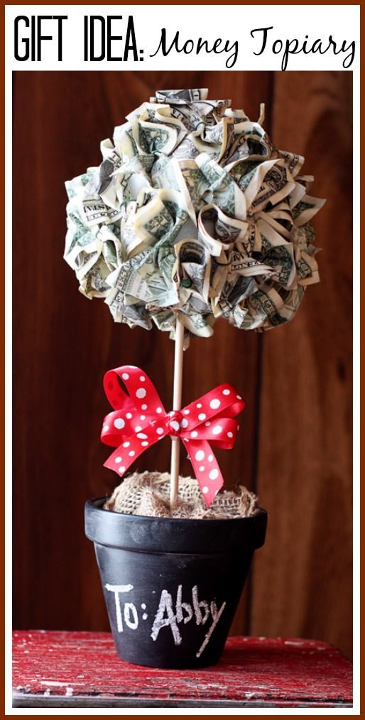 here's how to make a gift of money look awesome (with step by step tutorial instructions) - - Money Topiary Gift Idea - Sugar Bee Crafts- -