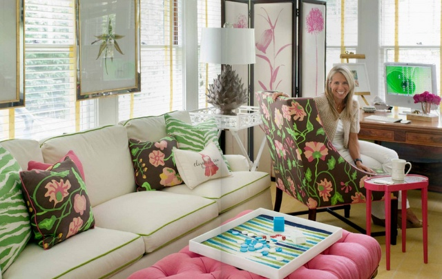 Brown Pink Amp Green Living Room With Pink Tufted Ottoman