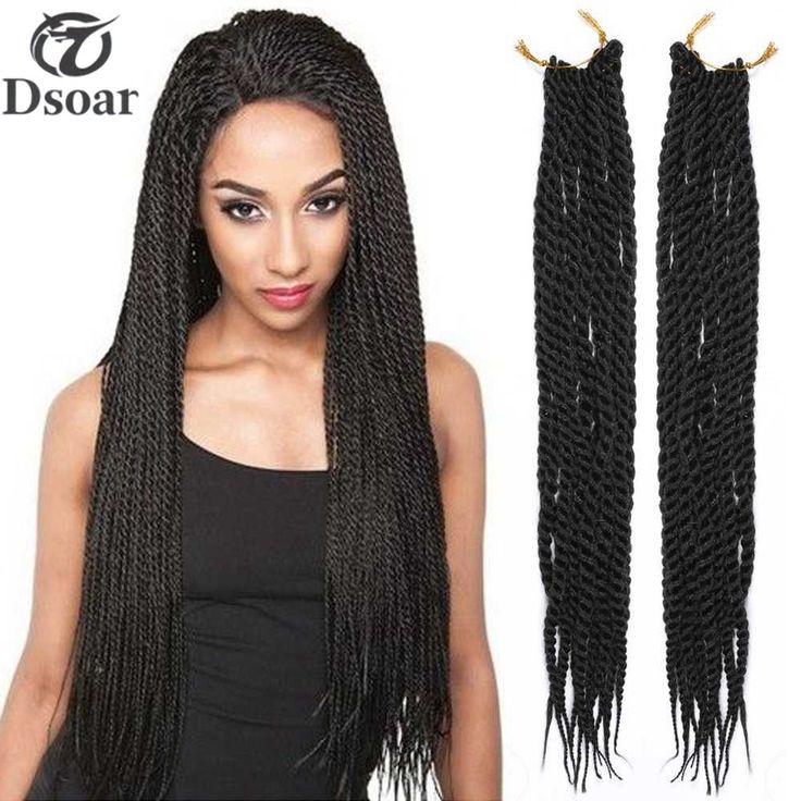 5 Pcs 22'' Synthetic Senegalese Braids Pretwist Crochet Hair Extensions Black #Dsoar #BraidHairExtension