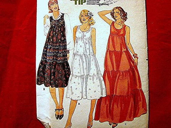 Butterick Boho 1970s Tiered Sun Dress Pattern Misses size 12 UNCUT