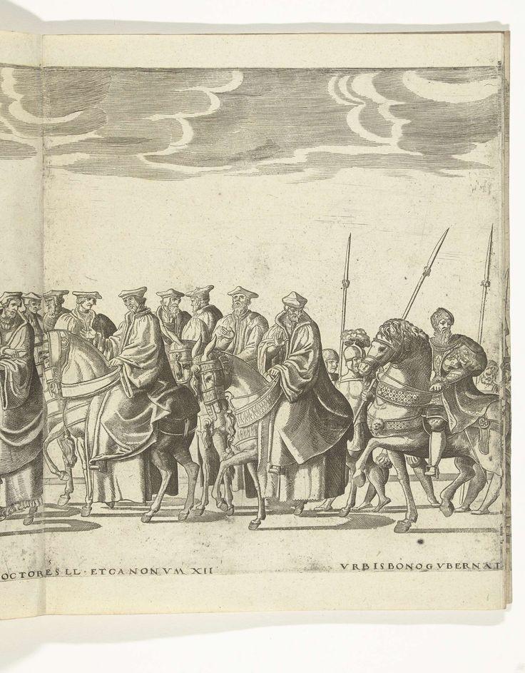Nicolaas Hogenberg | Vaandeldragers en kanunninken, plaat 5, Nicolaas Hogenberg, 1530 - 1536 | Vaandeldragers en kanunninken, plaat 5. Optocht van Karel V met de paus Clemens VII te Bologna na zijn kroning to keizer, 24 februari 1530.