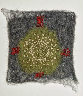 Linda Lammerts - Kantha stitches on loose felt background: idea for combining techniques