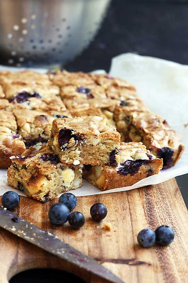 Blueberry, white chocolate & macadamia blondies. Made with olive oil, not butter!