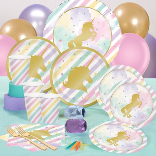 40% OFF: Unicorn Sparkle Metallic Deluxe Party Pack for 8 Party Supplies Canada - Open A Party