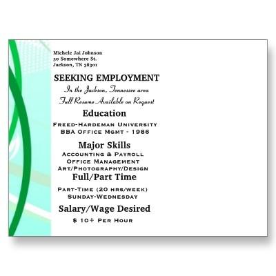 Resume printed on back side of oversized postcard.