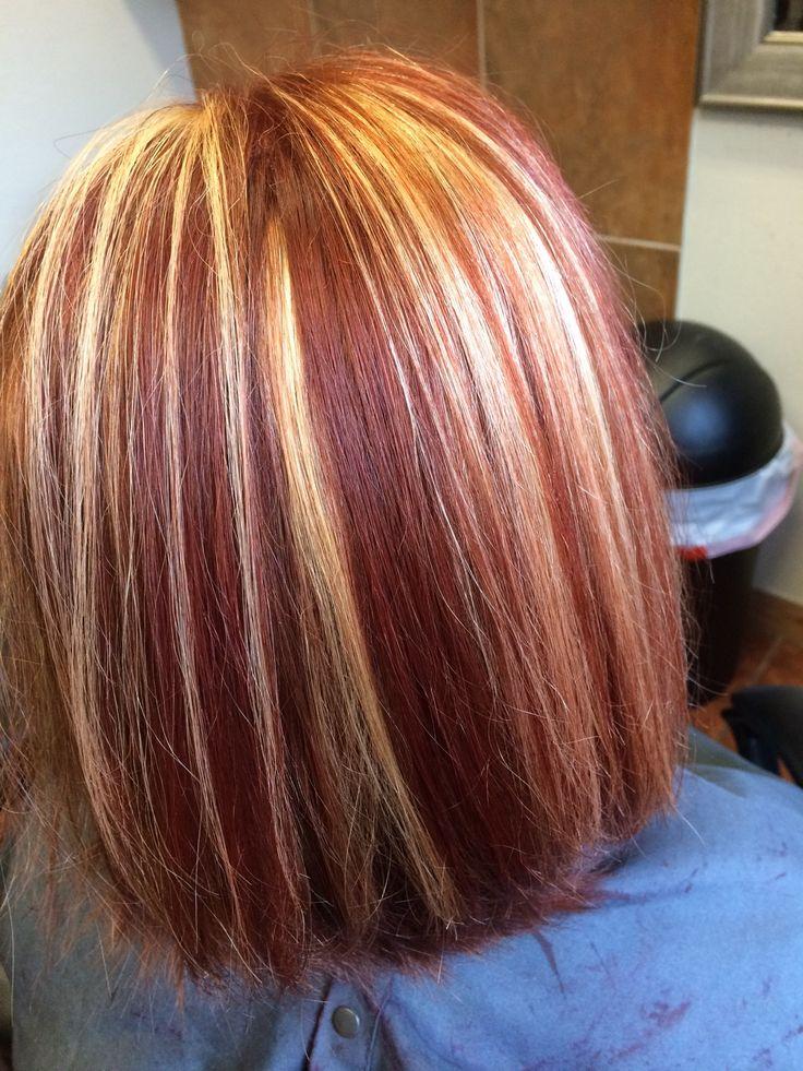 Red And Blonde Hair Color Chunky Highlights Auburn Hair