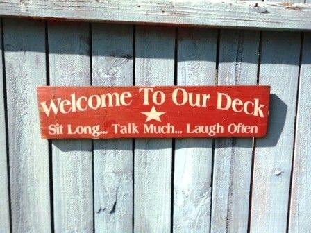 Deck sign outdoor house hand painted wood by kpdreams on Etsy, $20.00