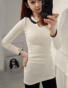 сексуальный цветовой контраст Милдред женщин все соответствием тонкий V-образным вырезом с длинным рукавом дна рубашки