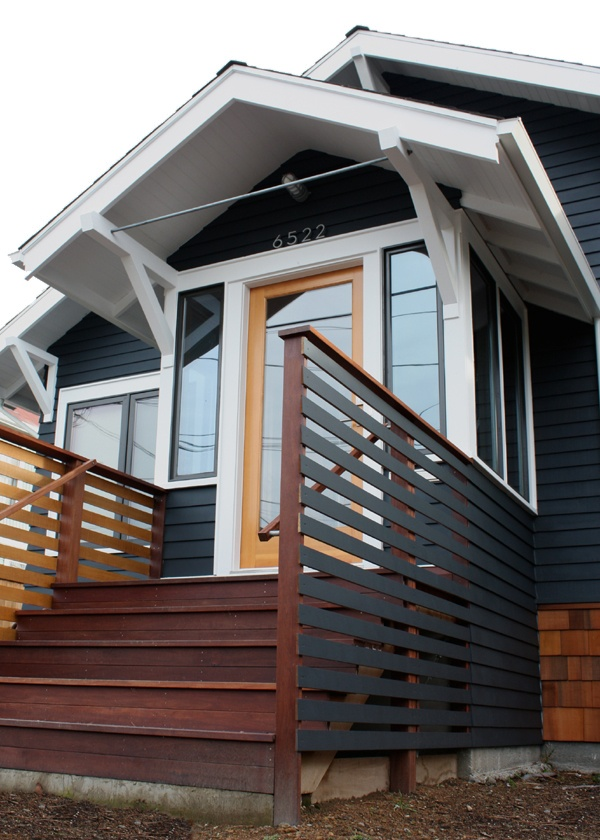 Stairs with a slat fence like this might work for the stairs on the side of my house. These from chezerbey even have a little hatch so you can get at any gnomes that hide in there. #stairs #slats #sideyard