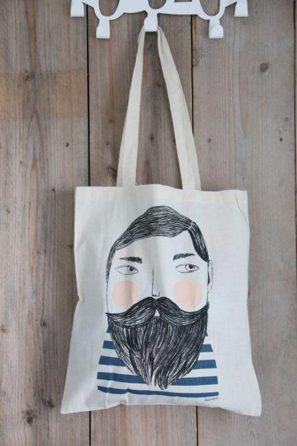 Bearded man shopper Depeapa. Bearded man Sailor shopper tote canvas by Depeapa…