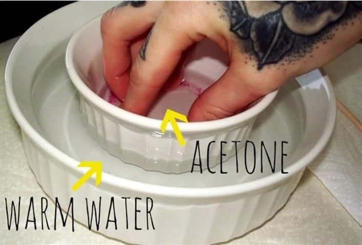 How To Remove Acrylic Nails Painlessly With Acetone At Home Take Off Acrylic Nails Gel Nail Removal Acrylic Nails At Home