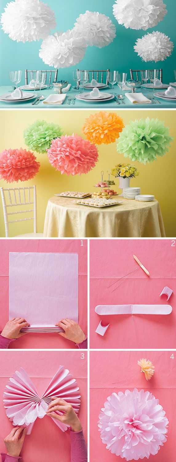 It's so simple to make these tissue paper balls! Any color or color combination will surely liven your baby shower!