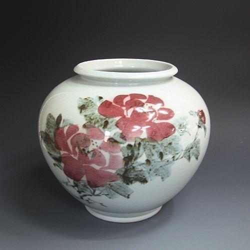 백자진사 목단문호 白磁辰砂 牧丹紋壺 (white Jinsa porcelain - Peony)