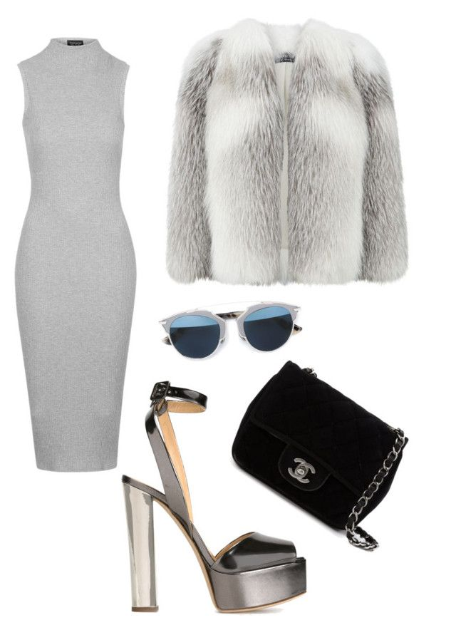 """Shades of grey"" by canara-imin on Polyvore featuring Topshop, Giuseppe Zanotti, Harrods, Chanel and Christian Dior"