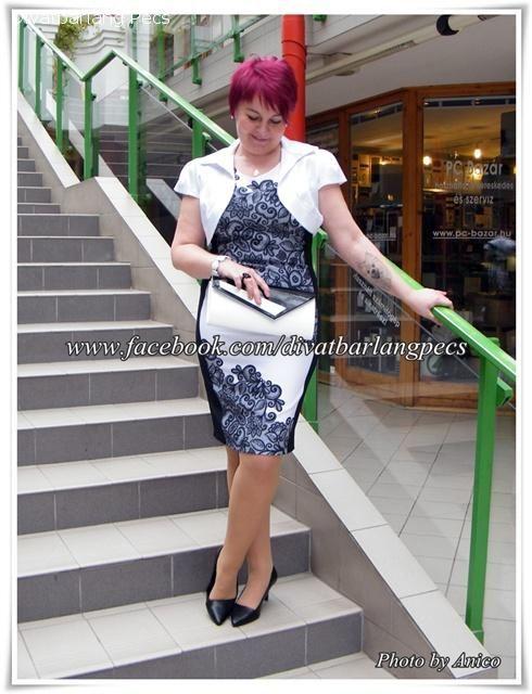 ce43130076 Exclusive csipkehatású fekete fehér japán rövidujú ruha - Alkalmiruha,  báliruha, koktélruha, koszorúslányruha,