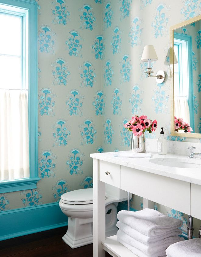 Bathroom Ideas Turquoise 277 best wallpapered bathroom images on pinterest | bathroom ideas