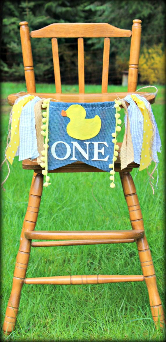 Rubber duck birthday banner, 1st birthday, highchair banner, decor, smash cake, yellow & navy, baby duck, child birthday, photo prop