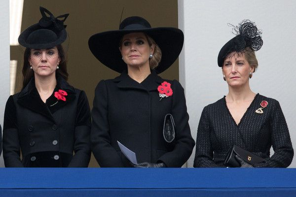 Catherine, Duchess of Cambridge, Queen Maxima of the Netherlands and Sophie, Countess of Wessex attend the annual Remembrance Sunday Service at the Cenotaph on Whitehall on November 8, 2015 in London, United Kingdom. People across the UK gather to pay tribute to service personnel who have died in the two World Wars and subsequent conflicts.