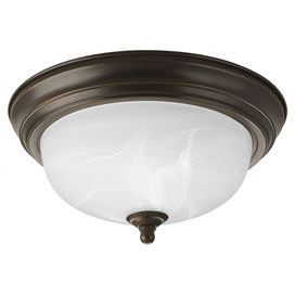 """Illuminate transitional decor with this handsome flush mount, showcasing an antique bronze finish and etched glass shade.  Product: Flush mountConstruction Material: MetalColor: Antique bronzeFeatures: Alabaster glassAccommodates: (1) 100 Watt medium base bulb - not includedDimensions: 5.5"""" H x 11.375"""" Diameter Note: Dimmers can be used with any incandescent or halogen light bulbs"""