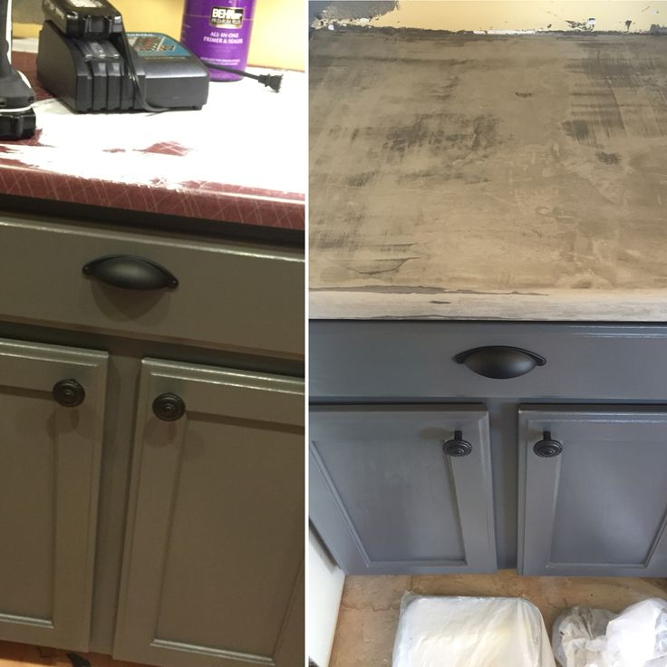 Oak Kitchen Countertops: Painted The Oak Cabinets And Then Did Concrete Over The