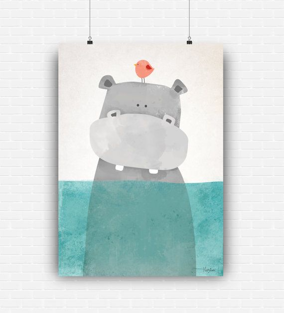 Beautiful illustration art with cute hippo in the by GraphicCorner