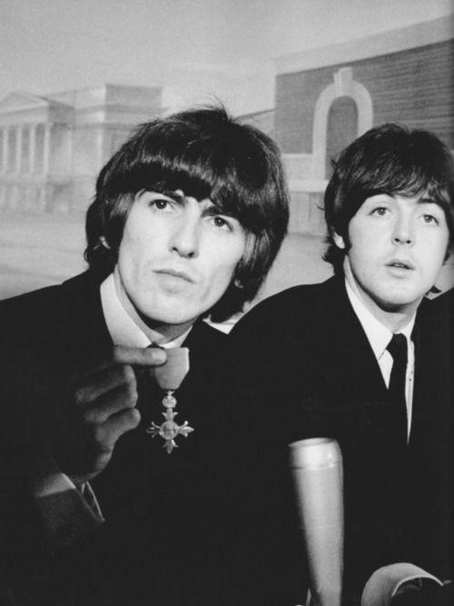 George Harrison and Paul McCartney