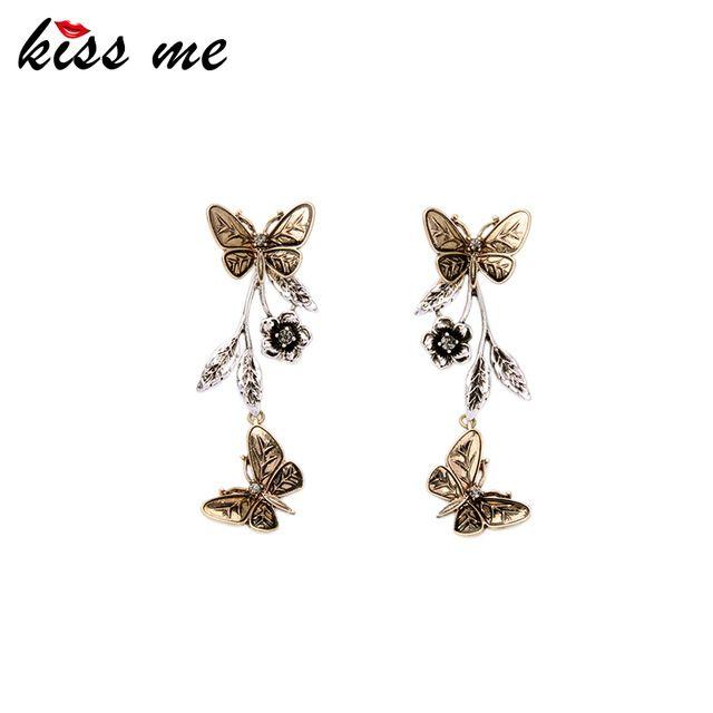 Съемный Сплава Ретро Цветы Бабочки Серьги для Женщин Известный Ювелирный Бренд Новый Дизайн Danging Серьги