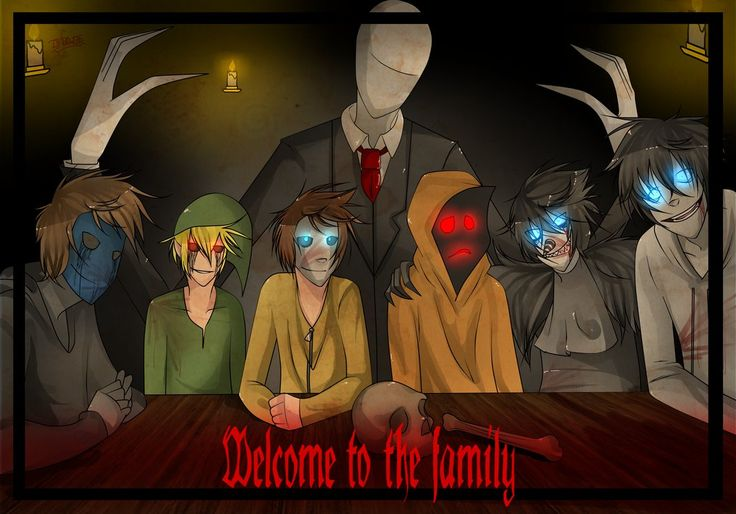 Welcome to the family Eyeless Jack, BEN drowned, Masky, Hoodie, Laughing Jack & Jeff the killer