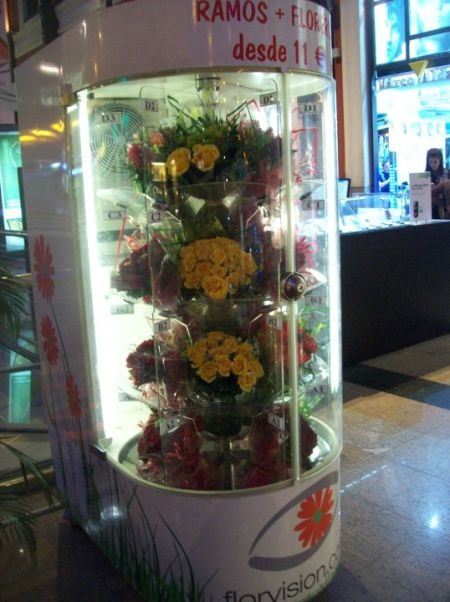 Vending machine for flowers in a train station in Madrid, Spain