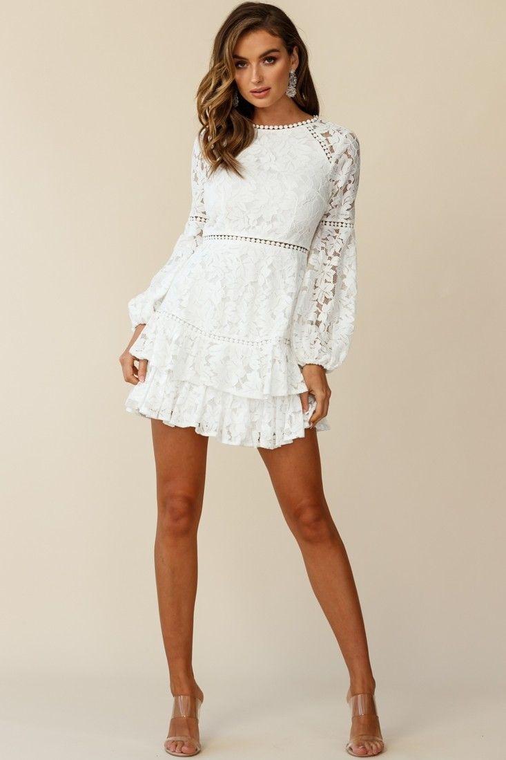 Henrietta Lace Overlay Long Sleeve Ruffle Dress White Long Sleeve Ruffle Dress White Short Dress White Long Sleeve Dress [ 1099 x 733 Pixel ]