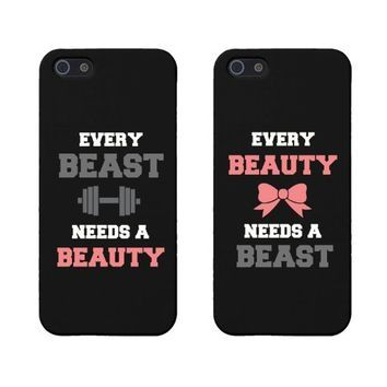 Beauty and Beast Need Each Other Matching Phone Cases for Iphone 5 5s Gift for Couples