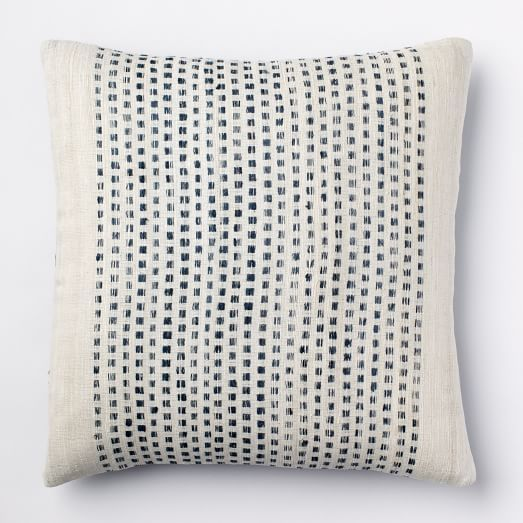 embroidered dot silk pillow cover blue lagoon west elm. Black Bedroom Furniture Sets. Home Design Ideas