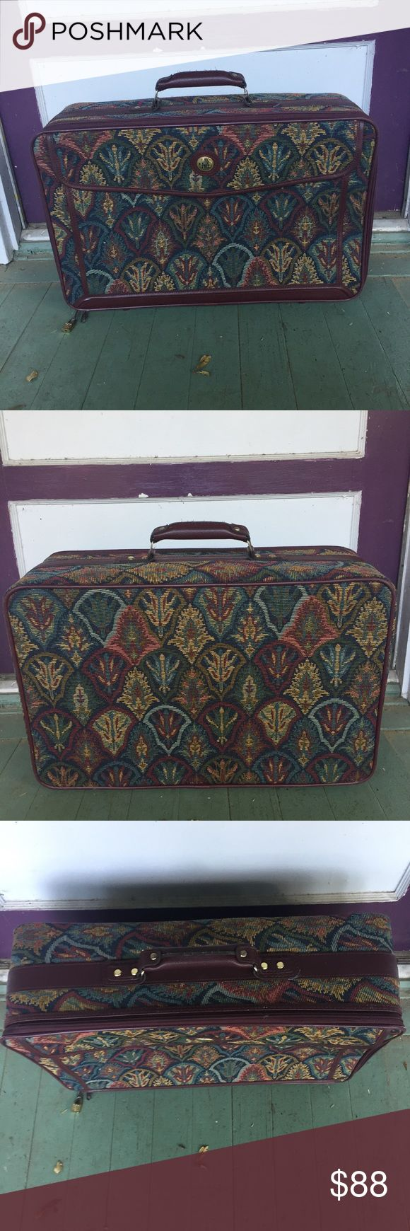 Rare VTG Diane Von Furstenberg Tapestry Suitcase Final Price! Dropped from 90 already! Rare Diane Von Furstenberg Awesome VTG 80's Suitcase/Luggage. In great VTG condition. Stands  upright on its own. This lovely suitcase features Art Deco floral tapestry fabric with burgundy leather details.  Suitcase is lined w/ zippered compartment & belt to secure items. Also has zippered compartment on the back.  *See comments for more info Diane Von Furstenberg Bags Travel Bags