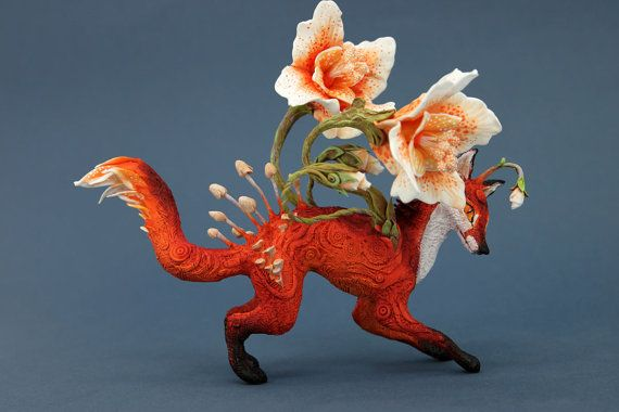 Flower Fox Fantasy Figurine Sculpture Animal by DemiurgusDreams
