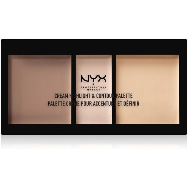 Nyx Professional Makeup Cream Highlight & Contour Palette ($15) ❤ liked on Polyvore featuring beauty products, makeup, face makeup, light, nyx, highlight makeup, nyx cosmetics, palette makeup and nyx makeup