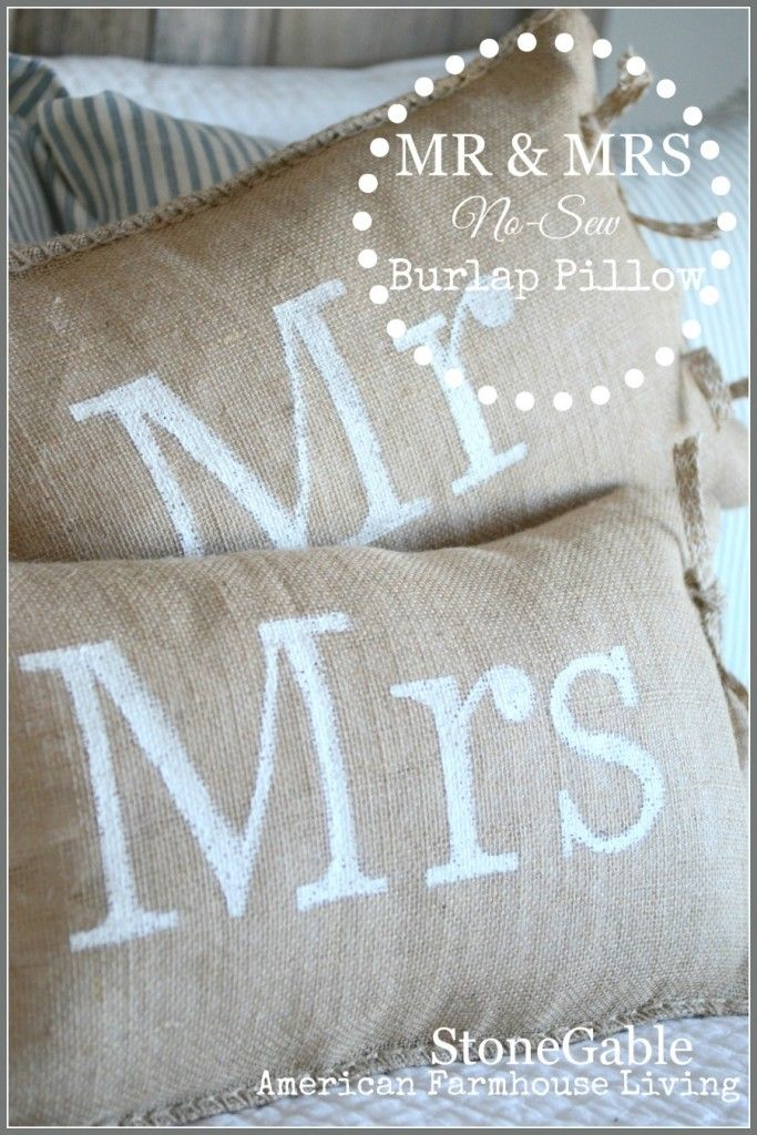 MR AND MRS NO-SEW BURLAP PILLOWS easy to make and looks fabulous-stonegableblog.com