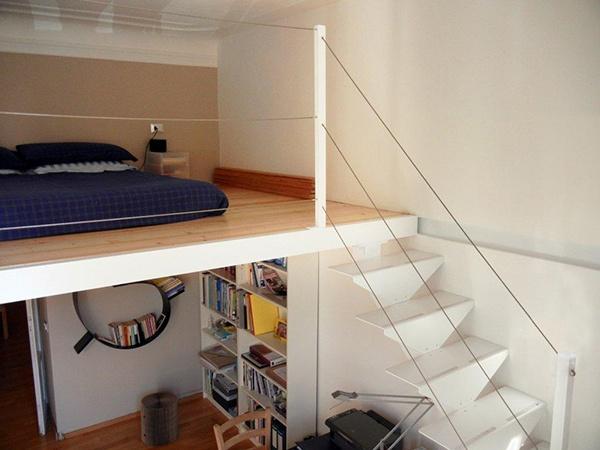 Loft Design #apartment #milan #italy #renovation #interiordesign #ladder #loft #bed #kartell #bookshelf #bookworm