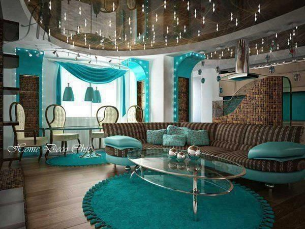 Teal Living Room/Dining Room <---- I LOVE THIS COLOR AND THE ROOM JUST ADDS TO MY LOVE AFFAIR WITH THIS COLOR