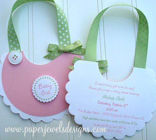 """Sweet Baby Bib"" Invitations || Paper Jewels Designs #babyshower"